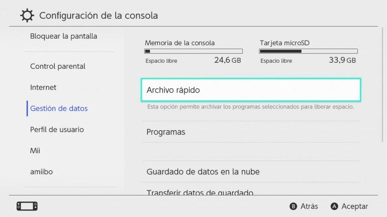 El almacenamiento básico de Nintendo Switch es relativamente limitado para lo que ocupan sus títulos.