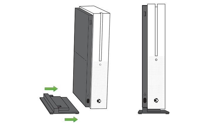 Imágen gráfica de Microsoft sobre cómo colocar el soporte vertical en Xbox One S.