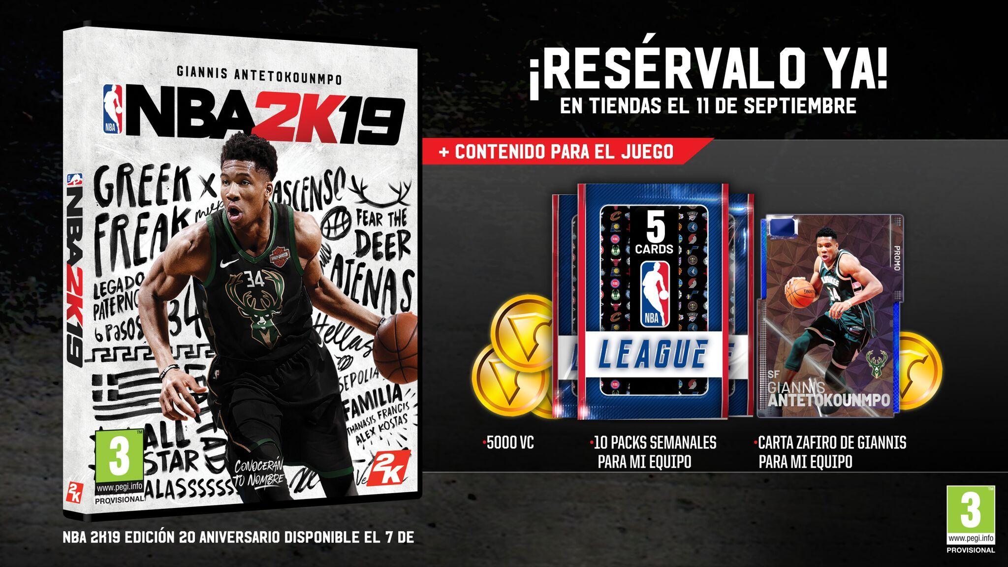 Antetokounmpo, portada de NBA 2K19