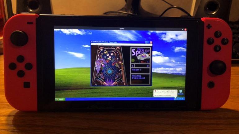 Lo que ves es Windows XP en Nintendo Switch ¡corriendo el Pinball!