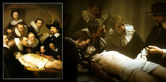 La Lección de Anatomía del Dr. Nicolaes Tulp de Rembrandt y una boceto artístico de Deus Ex: Human Revolution.