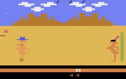 El casposo Custer's Revenge puede ser considerado como uno de los primeros videojuegos en ser explícitos en el tema sexual. Su condición de descuidado puñado de pixels hace que éste sea el único desnudo que se podrá ver en el artículo.