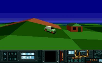 En pantalla uno de los primeros Sandbox de la historia. Hunter de 1991 apareció para Amiga, y contó con el abrazo de la crítica. Permitía enorme libertad y la posibilidad de manejar diferentes vehículos.