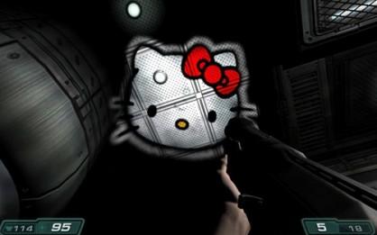 El tema de la linterna de DOOM3 trajo tanta guasa a la comunidad que no tardaron en aparecer divertidos mods como este, que traía al terrorífico método de iluminación del juego la poco apropiada figura de Hello Kitty.