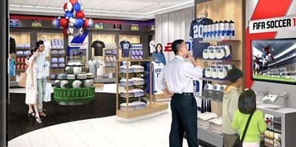 Render para ilustrar como podría ser la nueva tienda de EA Sports.